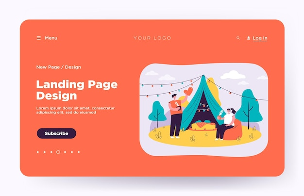 Cheerful couple camping together on nature isolated landing page