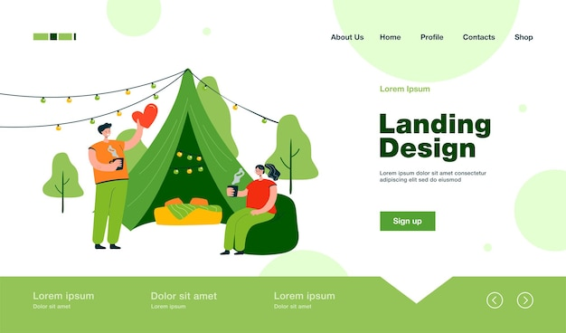 Cheerful couple camping together on nature landing page in flat style