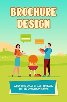Cheerful couple cooking barbeque on nature and talking brochure template