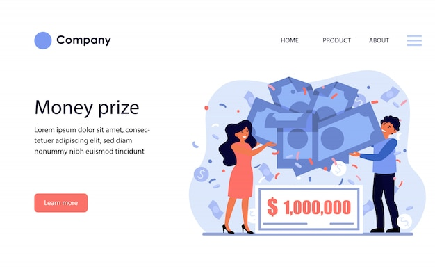 Cheerful couple winning money prize. website template or landing page