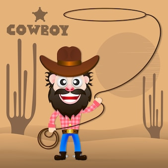 Cheerful cowboy vector illustration.