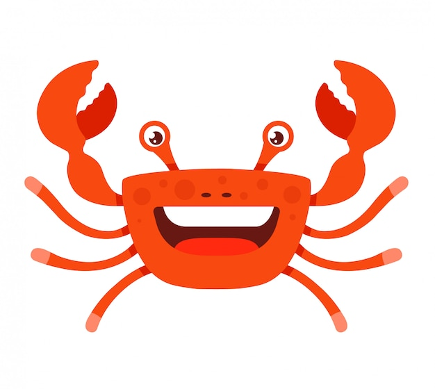 Cheerful crab with open mouth with tentacles raised upwards. character illustration