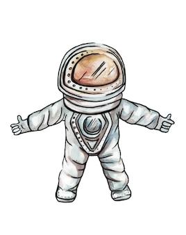손으로 수채화 그리기 공간에서 우주복에 쾌활 한 귀여운 우주 비행사
