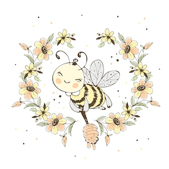 Cheerful cute bee with honey in a frame of flowers.