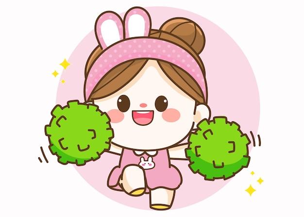 Веселая милая девушка из группы поддержки, держащая помпон рисованной иллюстрации шаржа