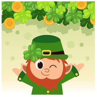 Cheerful cute leprechaun hands up poster.