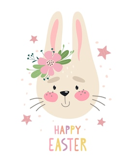 Cheerful and cute rabbit print with the words happy easter.   flat illustration.