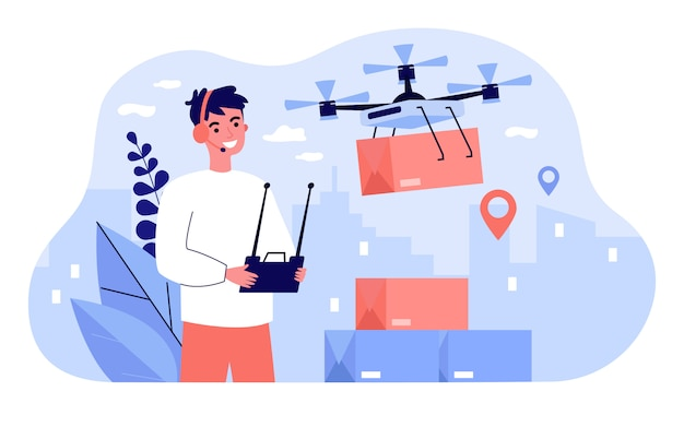 Cheerful delivery manager controlling drone carrying box