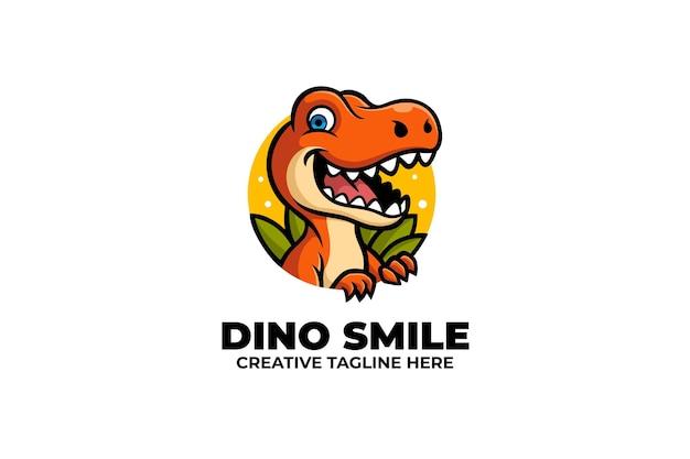 Cheerful dino mascot logo