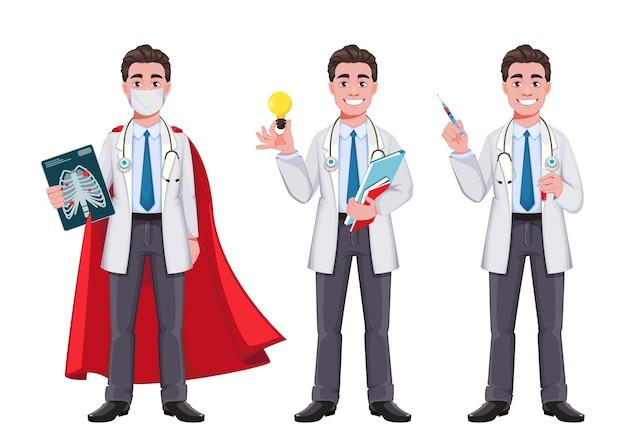 3つのポーズの陽気な医者の漫画の文字セット