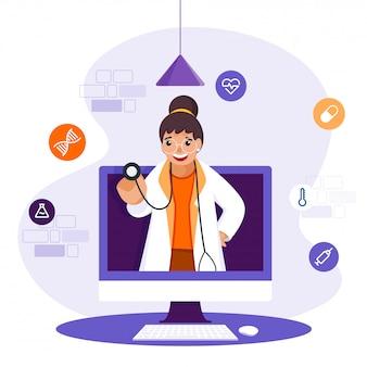 白い背景の上の医療要素を持つコンピューターで診断のための聴診器を保持している陽気な医者の女の子。