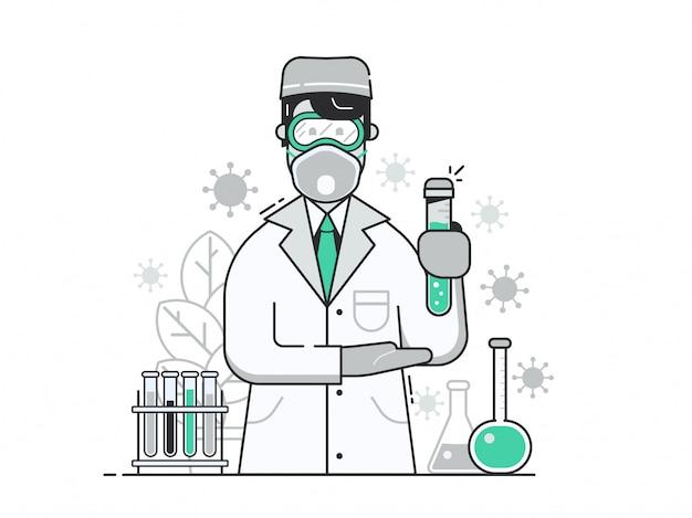 Веселый доктор с вирусной вакциной в защитной маске в медицинской лаборатории.