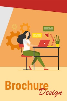 Cheerful employee working at laptop in office, chatting online with speech bubbles. vector illustration for communication, happy worker, career success concept.