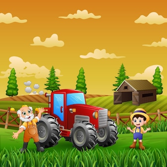 Cheerful the farmer at the farm land landscape