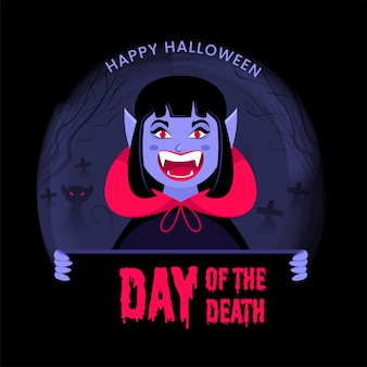 Cheerful female vampire or monster presenting day of the death dripping text