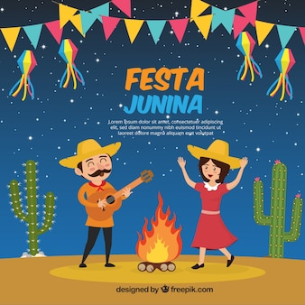 Cheerful festa junina background of couple dancing
