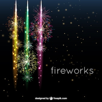Cheerful fireworks in the night sky