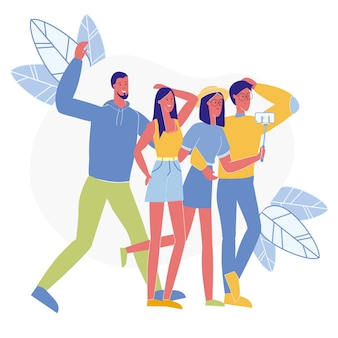 Cheerful friends take selfie vector illustration