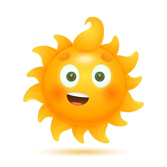 Cheerful funny cartoon sun