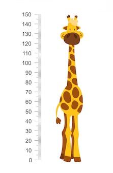 긴 목을 가진 쾌활한 재미 기린. 성장을 측정하기위한 높이 미터 또는 미터 벽 또는 벽 스티커 (0 ~ 150 센티미터). 어린이 그림