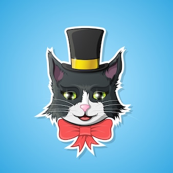 Cheerful funny sticker of a cat face with bow and hat