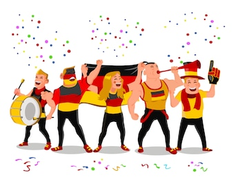 Cheerful Germany Football National Team Supporters