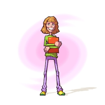 Cheerful girl in a cartoon style