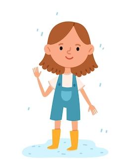Веселая девушка стоит в луже в резиновых сапогах