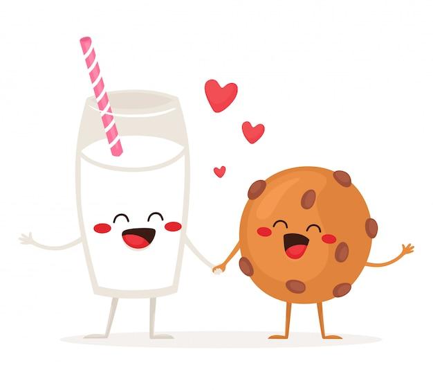 Веселый стакан молока и традиционное печенье с шоколадной стружкой. друзья навсегда. иллюстрация в плоском мультяшном стиле.