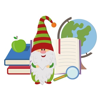 A cheerful gnome stands against the background of a globe and books, a vector isolated illustration in the style of flat.