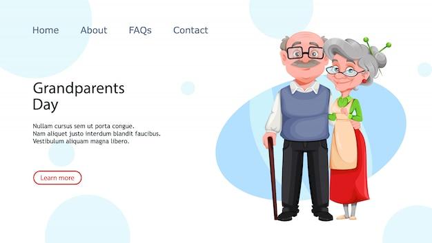 陽気な祖母と祖父。祖父母の日のランディングページ。