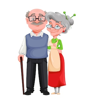 Cheerful grandmother and grandfather cartoon characters