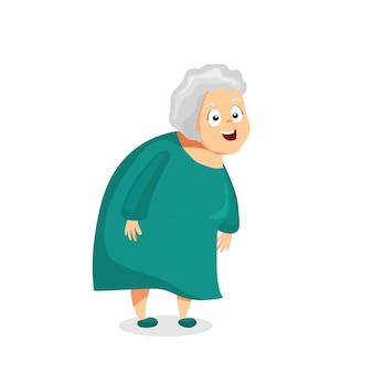쾌활한 할머니 벡터 어린이 만화 일러스트 레이션