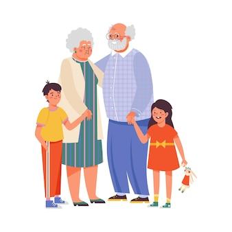 명랑 조부모와 손자 평면 벡터 일러스트 절연