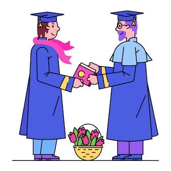Жизнерадостные студенты женщины группы празднуют градацию университета, женщина совместно обнимают и держат диплом на белизне, линии иллюстрации.