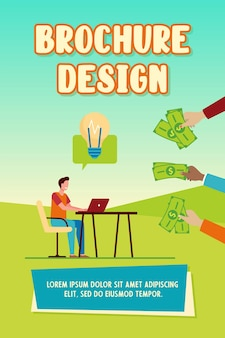 Cheerful guy earning money for his idea brochure template