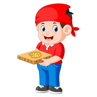 Cheerful guy from delivery service in red t-shirt and holding pizza boxes