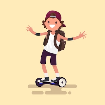 Cheerful guy rides on gyroscooter illustration