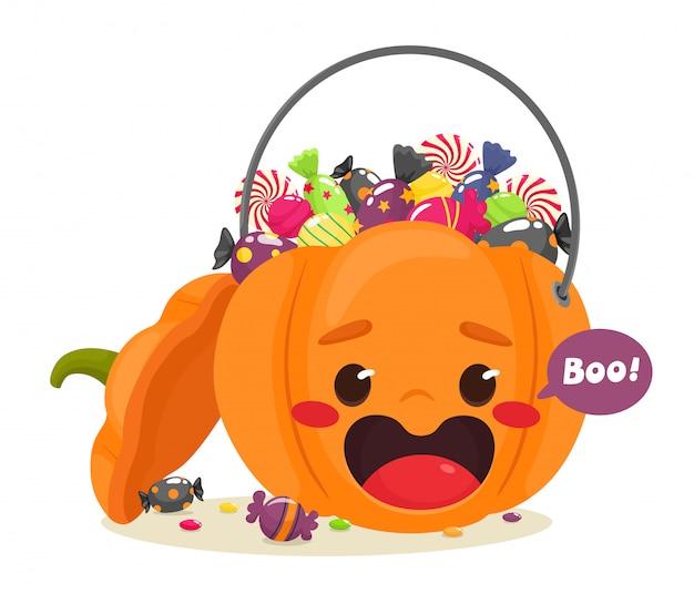 Cheerful halloween pumpkin filled with sweets. illustration in flat cartoon style. happy halloween.