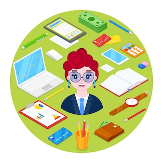 Cheerful and happy businesswoman and office stationary on green.illustration.