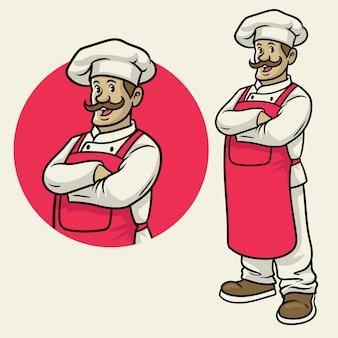 Веселый счастливый шеф-повар в позе скрещивания рук