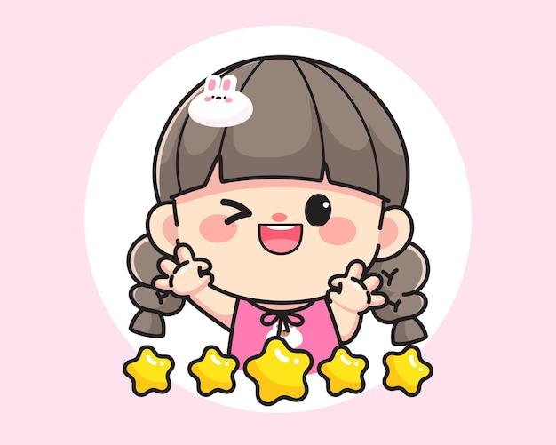 製品レビューロゴ手描き漫画アートイラストのokサインを示す陽気な幸せなかわいい女の子