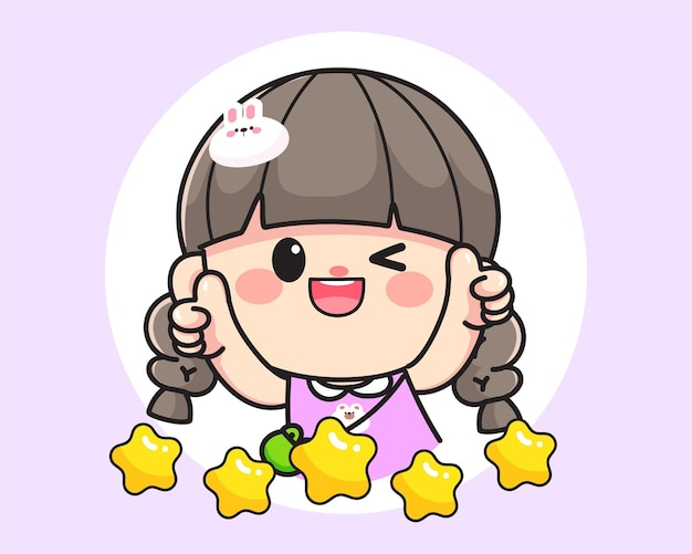 Cheerful happy cute girl showing thumb up for product reviews logo hand drawn cartoon art illustration