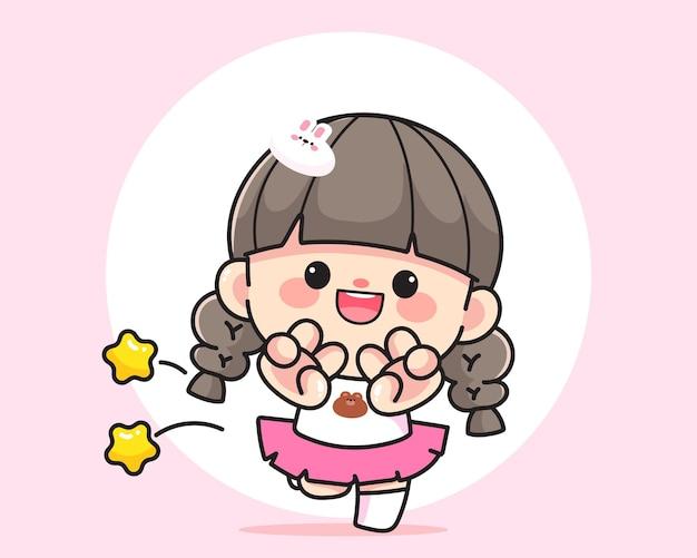 2本の指のロゴ手描き漫画アートイラストを示す陽気な幸せなかわいい女の子