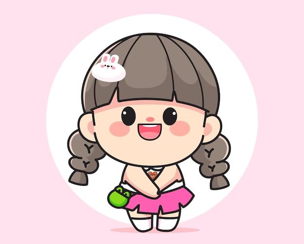陽気な幸せなかわいい女の子立っているロゴ手描き漫画アートイラスト