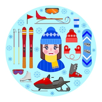 Cheerful and happy girl in winter clothes and sports winter equipment.