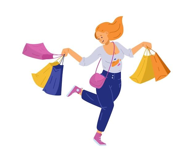 고립 된 평면 쇼핑을 즐기는 쾌활 한 행복 한 젊은 여자