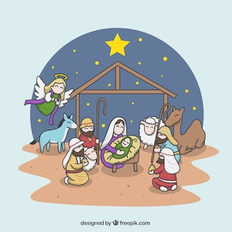 Cheerful illustration of the nativity scene
