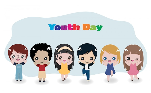 Cheerful international kids for youth day