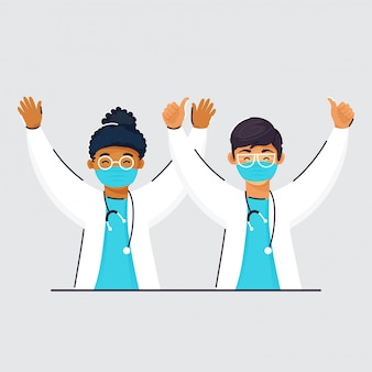 Cheerful kid doctors wearing protective mask and raised hands on grey background.